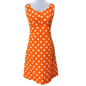 Vintage Orange White Polka Dot Handmade Sleeveless